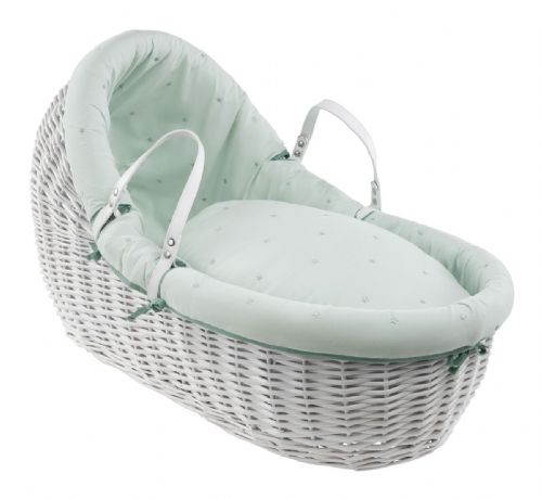 Willow Wrap Over Bassinet in White - Lullaby Stars Mint
